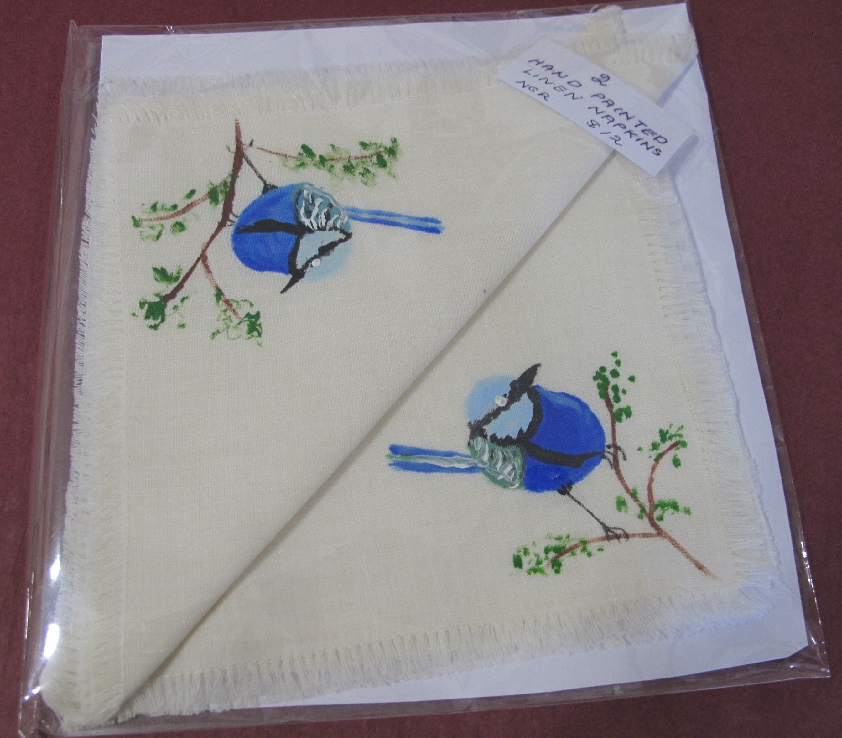 Hand painted linen napkins (2)