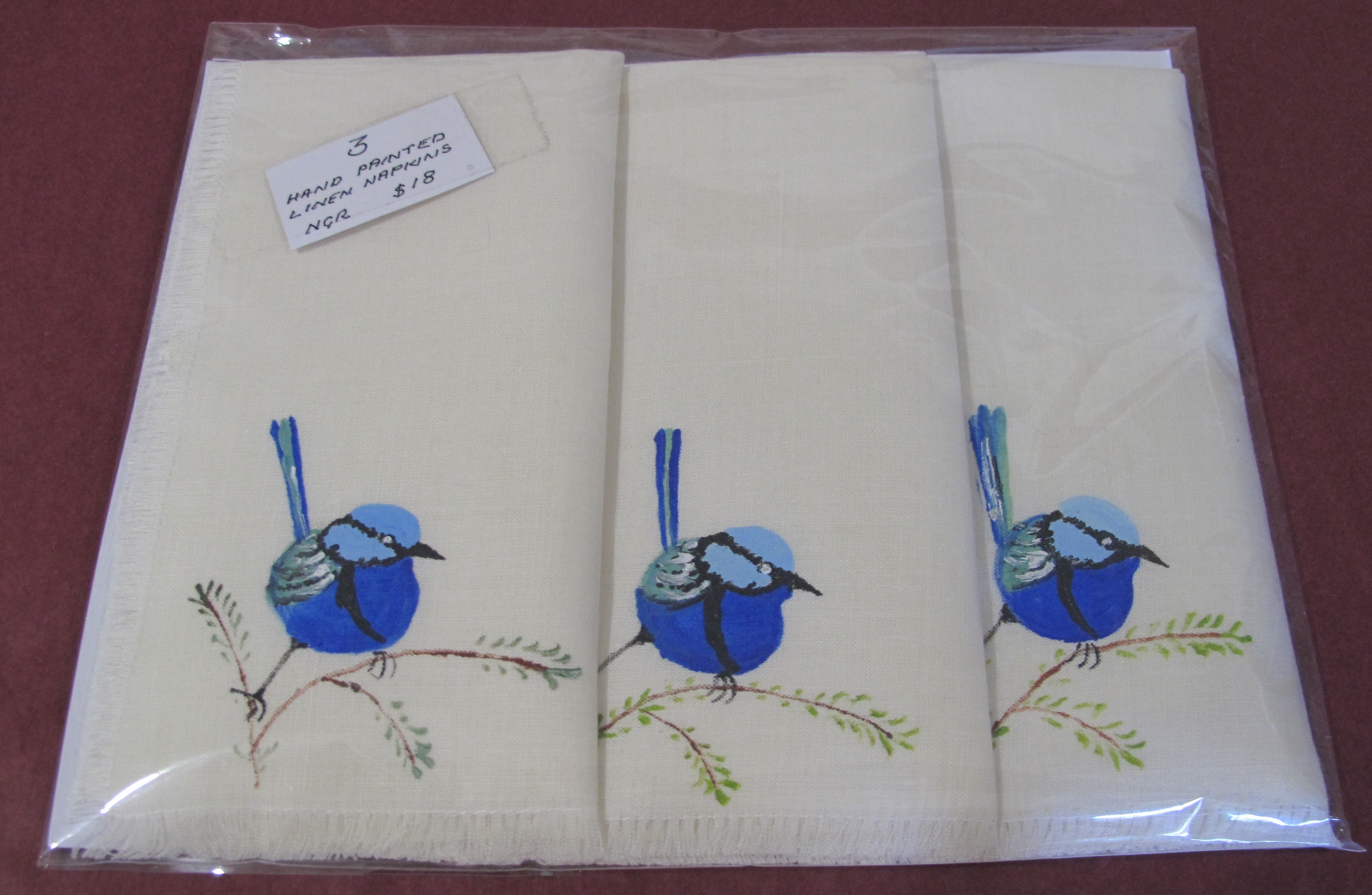 Hand painted linen napkins (3)