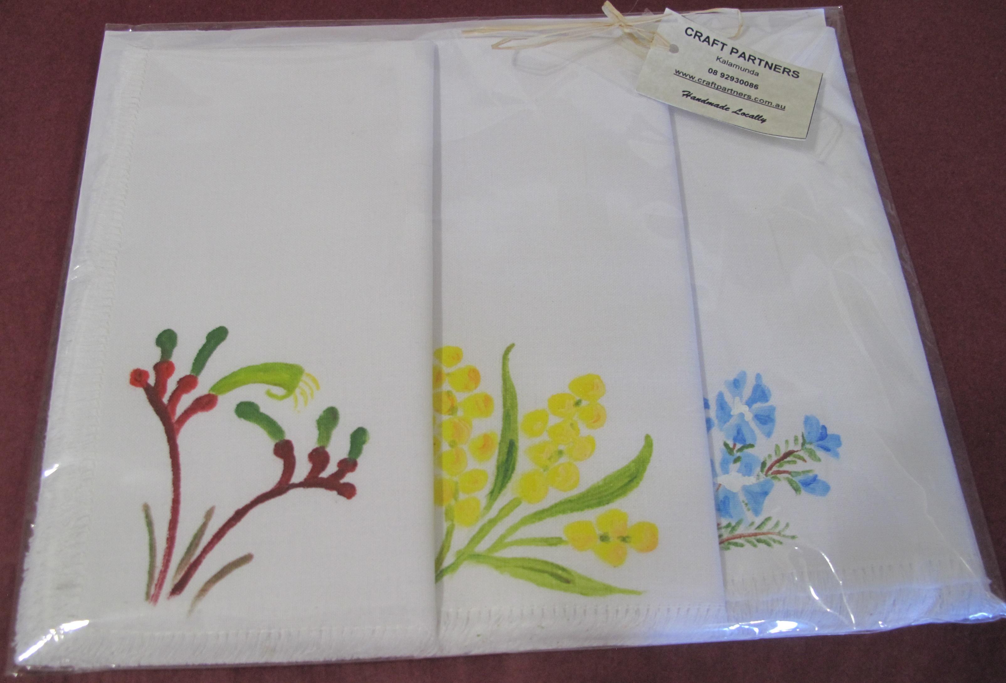 Hand painted wildflower linen napkins (3)