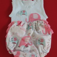 Baby Singlet and Pants Elephants