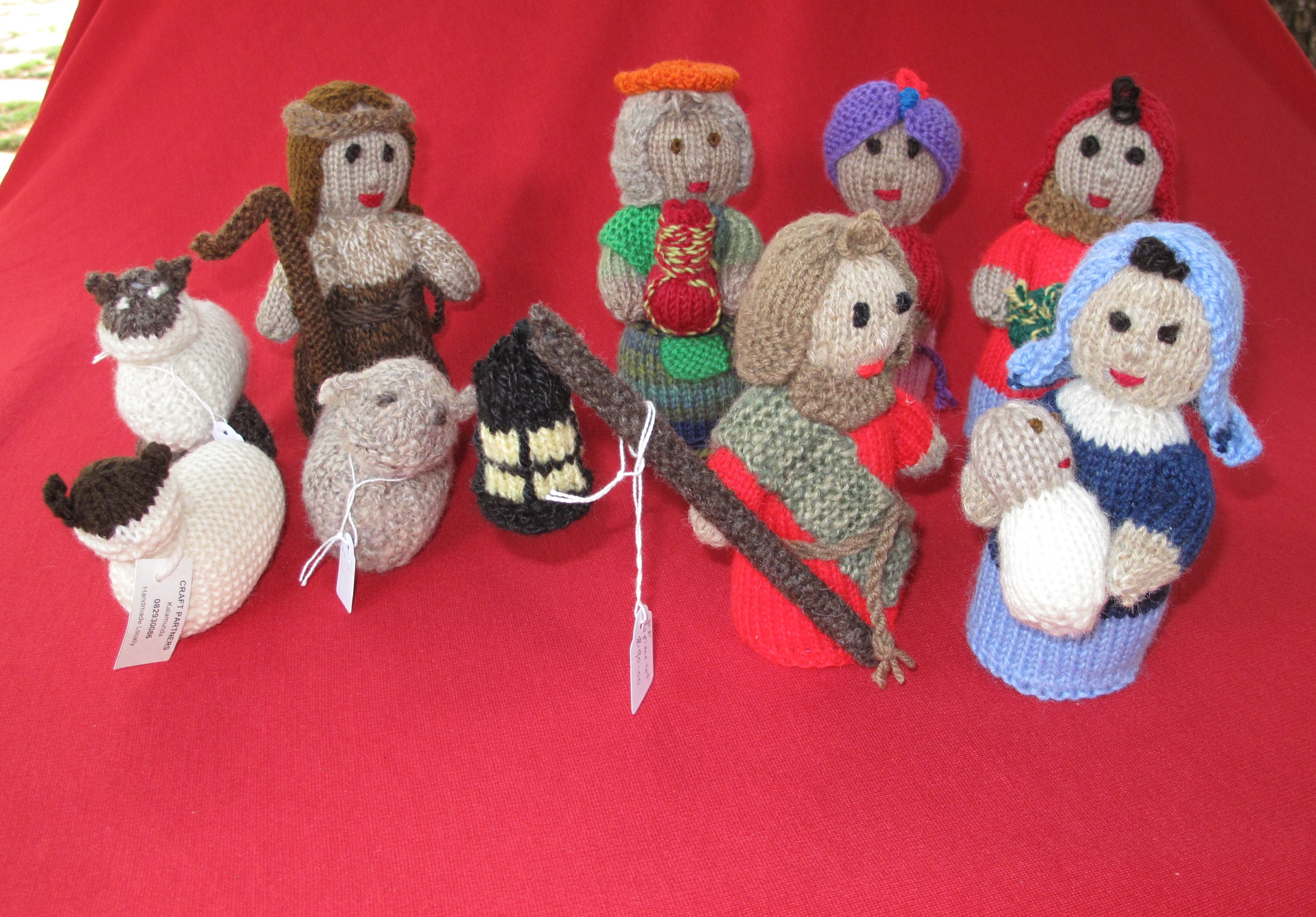 Hand knitted nativity set