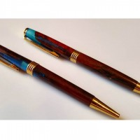 Jarrah and Blue Resin Pens
