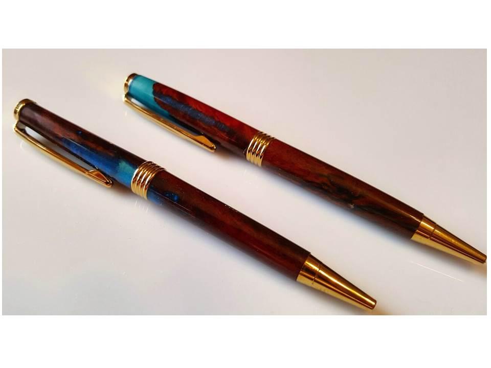 Jarrah and Blue Resin Pens