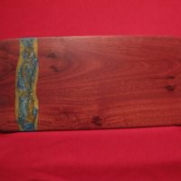 Jarrah Board with blue-gold resin 395X200mm