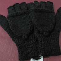 Knitted fingerless gloves with cover